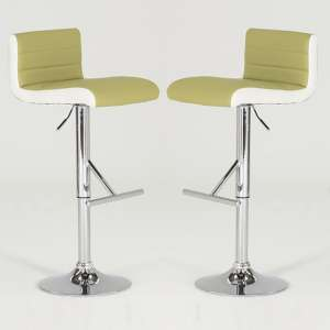 Baldwin Bar Stools In Lime And White Faux Leather In A Pair