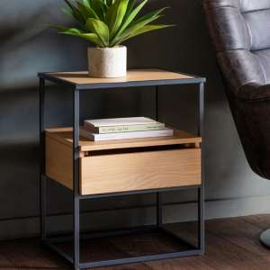 Balham Oak Side Table With Metal Frame