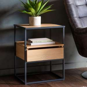 Balham Wooden Side Table In Oak With Metal Frame