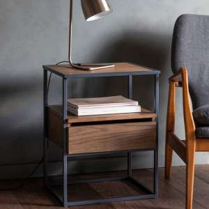 Balham Wooden Side Table In Smoked With Metal Frame