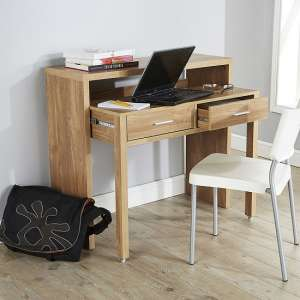Balin Extendable Desk Or Console Table In Oak With 2 Drawers
