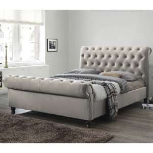 Balmoral Fabric Super King Size Bed In Champagne With Dark Feet