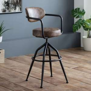 Barbican Faux Leather Leather Bar Stool In Brown