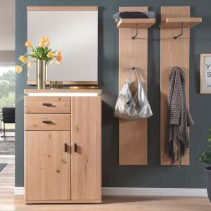 Barcelona LED Hallway Furniture Set In Planked Oak With Mirror