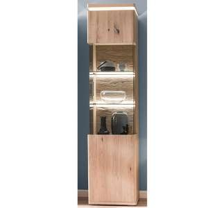 Barcelona LED Left Opening Display Cabinet In Planked Oak
