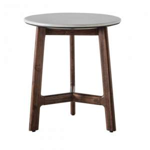 Barcelona Wooden Side Table  With Marble Top