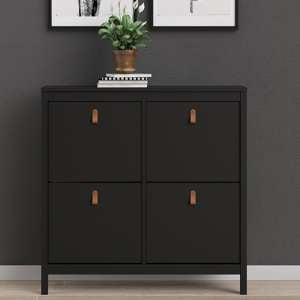 Barcila 4 Compartments Shoe Storage Cabinet In Matt Black