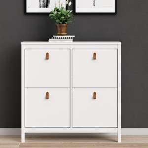 Barcila 4 Compartments Shoe Storage Cabinet In White