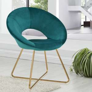Barclay Velvet Dining Chair In Green With Gold Steel Legs