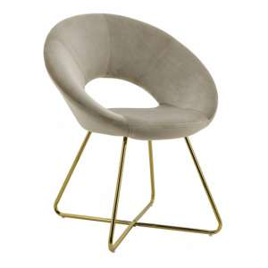 Barclay Velvet Dining Chair In Grey With Gold Steel Legs