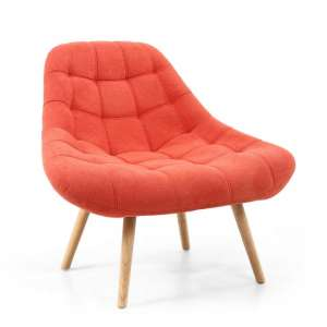 Barletto Fabric Lounge Chair In Brick Orange With Wooden Legs