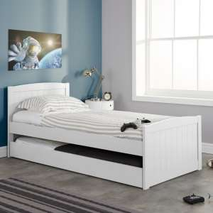 Barnese Wooden Single Bed In White With Pull Out Trundle