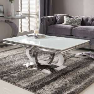 Barney Glass Coffee Table In White With Polished Metal Base