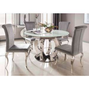 Barney White Glass Round Dining Table With 4 Galvan Silver Chair