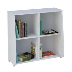 Barnley Station Bookcase In White With 4 Compartments