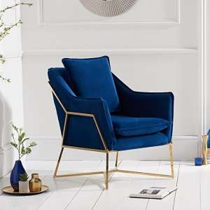 Boran Modern Accent Chair In Blue Velvet With Gold Frame