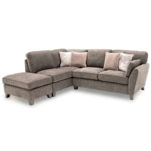 Barresi Chenille Fabric Left Hand Corner Sofa In Mushroom