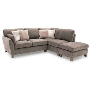 Barresi Chenille Fabric Right Hand Corner Sofa In Mushroom