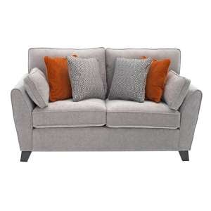Barresi Chenille Fabric Two Seater Sofa In Silver Finish