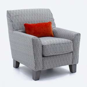 Barresi Fabric Accent Chair In Graphite With Wooden Legs