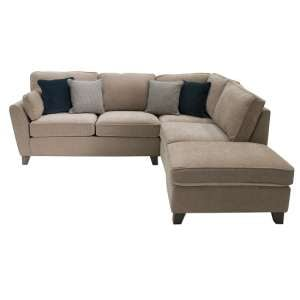 Barresi Chenille Fabric Right Hand Corner Sofa In Almond Finish
