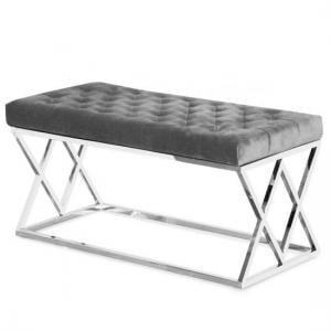 Barton Fabric Dining Bench In Grey Plush Velvet And Steel Frame
