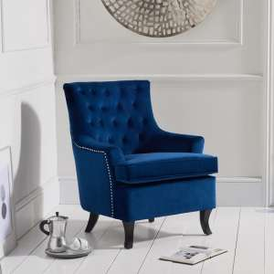 Barrow Modern Accent Chair In Blue Velvet With Black Legs