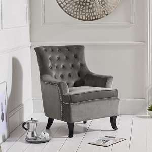 Barrow Modern Accent Chair In Grey Velvet With Black Legs