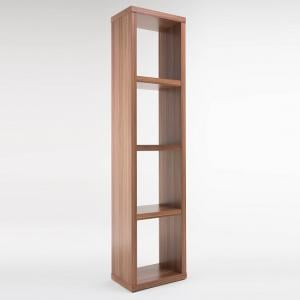 Bastian Wooden Bookcase In Walnut With 3 Shelf