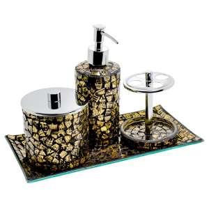 Perth Mosiac Glass Bathroom Set In Gold