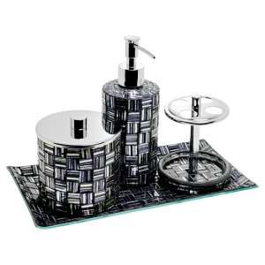 Perth Mosiac Glass Bathroom Set In Silver And Black