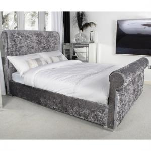 Baxey Double Bed In Crushed Steel Velvet With Chrome Feet