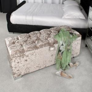 Baxey Crystal Ottoman Small In Crushed Mink Velvet