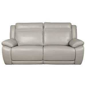 Baxter Recliner 3 Seater Sofa In Light Grey Leather Air Fabric