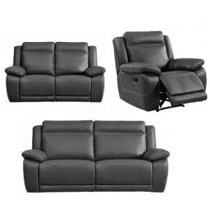 Baxter Recliner Sofa Suite In Dark Grey Leather Air Fabric
