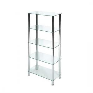 Bayley Modern Display Stand In Clear Glass With Chrome Legs