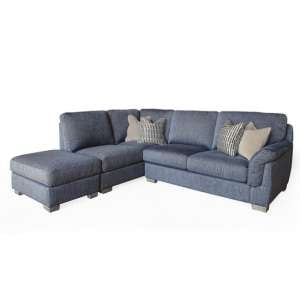 Beckett Left Corner Fabric Sofa In Blue With 4 Scatter Cushions