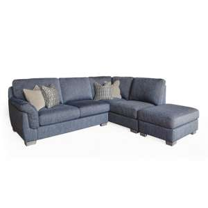 Beckett Right Corner Fabric Sofa In Blue With 4 Scatter Cushions