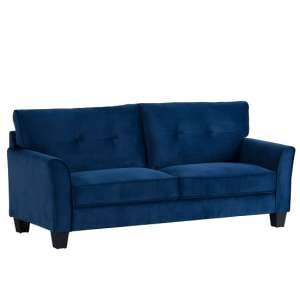 Beckton Fabric 3 Seater Sofa In Blue Velvet With Wooden Legs