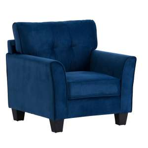 Beckton Fabric Armchair In Blue Velvet With Wooden Legs