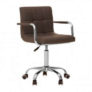 Becoa Home And Office Leather Chair In Grey With Swivel Base
