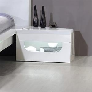 Pulse High Gloss Bedside Table In White With LED Lighting