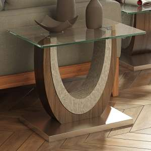 Beecroft Clear Glass Side Table With Brushed Stainless Base