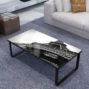 Beekhuis Eiffel Tower Patterned Glass Coffee Table In Grey