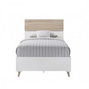 Belavo Wooden Single Bed In Matt White And Sonoma Oak