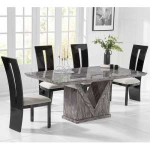 Belcher Large Grey Marble Dining Table With Six Ophelia Chairs