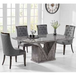 Belcher Large Grey Marble Dining Table With Six Tulip Chairs