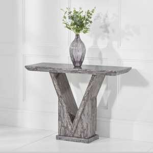 Belcher Marble Console Table In Grey With V Shape Base
