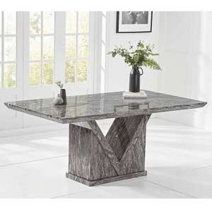 Belcher Marble Small Dining Table In Grey With V Shape Base