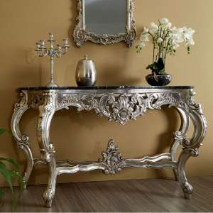 Belgrade Marble Top Console Table In Black With Champange Finish